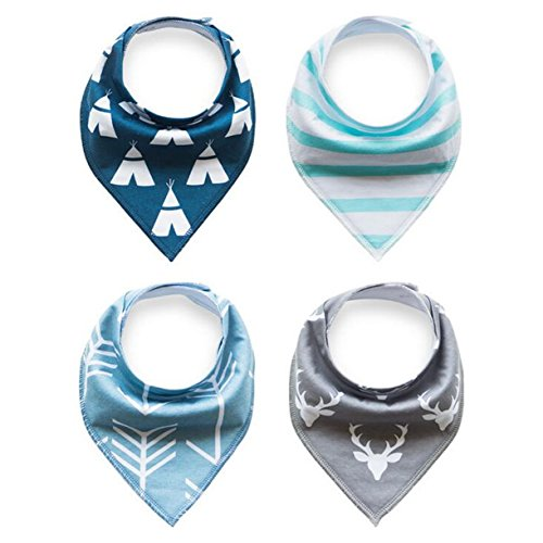 Baby Bandana and Bibs for Boys and for Girls (Set of 4, Gift Set) Adorable Stylish Design Bibs