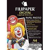 Filipaper 2572, Papel Fotográfico, Inkjet, A4, Photo Profissional 180 g, Multicor, Pacote de 30