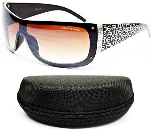 D50-cc Designer Eyewear Semi Rimless Shield Sunglasses (E118 Brown, - Designer Sunglasses Dg