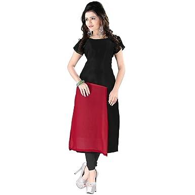 6d6c281d3108 Occeanus Black and Red Georgette Designer Plain Straight Kurti ...