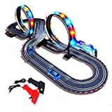 StarryBay 1/43 Scale Electric RC Slot Car Racing Track Sets Dual Speed Mode Race Track for Boys - Colorful LED Lights, 2 Slot Racing Car & 2 RC Handles Included