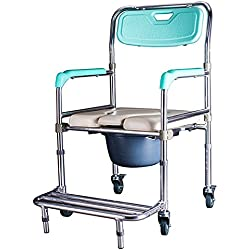 Folding Commode Chairxihaa Old People Pregnant Women Toilet Stool Adjustable Height Aluminum Alloy with Pedal Bathroom Bath Chair(Four Rounds)