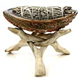 Premium Abalone Shell with Natural Wooden Tripod Stand and 3 California White Sage Smudge Sticks. Alternative Imagination Brand. (6″ Abalone Shell)