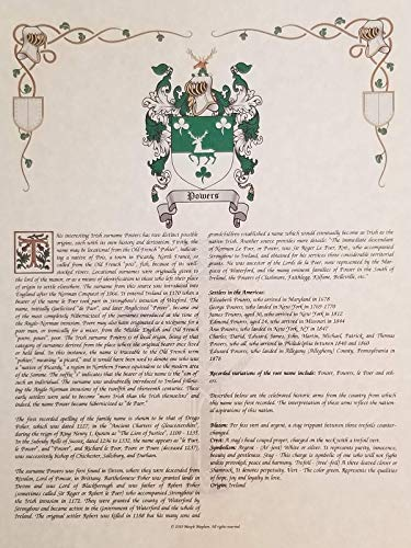 Foil Coat of Arms, Family Crest & History 8.5x11 Print - Name Meaning Plus Genealogy, Family Tree Research - Surname Origin: ()