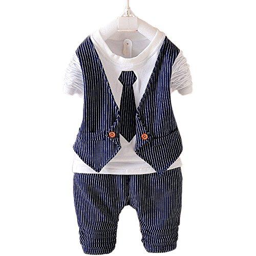Baby Boy Striped Formal Party Wear Christening Wedding Tuxedo Waistcoat Bow Tie Suit Nave Blue