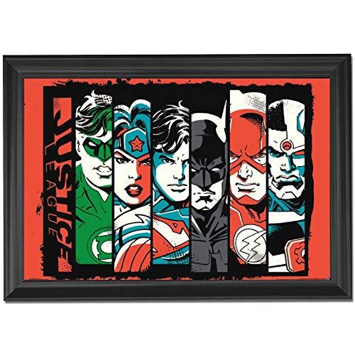 Justice League Bars Wall Art Decor Framed Print | 24x36 Premium (Canvas/Painting Like) Textured Poster | DC Comics Movie Heros Batman, Superman & Flash | Fan Memorabilia Gifts for Guys & Girls Bedroom -