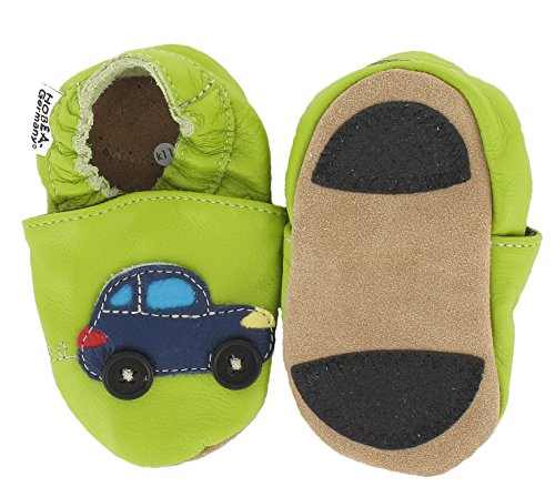 HOBEA-Germany Lauflernschuhe Auto mit Ampel - Pantuflas para bebés Verde (grün)