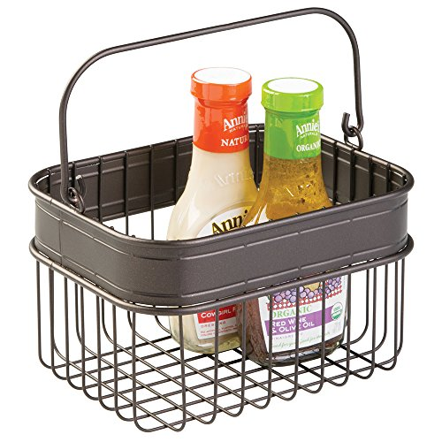 mDesign Kitchen, Pantry Storage Basket for Condiments, Napkins, Produce, Soda Bottles - Bronze