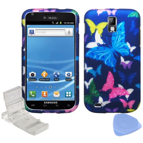 Pink Butterfly Hard Graphic - (4 items Combo: Phone Stand, Screen Protector Film, Case Opener, Graphic Case) Purple Green Yellow Pink Blue Butterfly Design Rubberized Snap on Hard Shell Cover Faceplate Skin Case for T-Mobile Samsung Galaxy SII T989 / Hercules