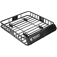 """Vault Cargo Management Cargo Rack Heavy Duty Roof Basket & Cargo Roof Carrier Rack Ideal for Hauling Luggage, Spare tire, and Camping Gear - Roof Rack for SUV/Truck/Car (L 44"""" x W 39"""" x H 5"""")"""