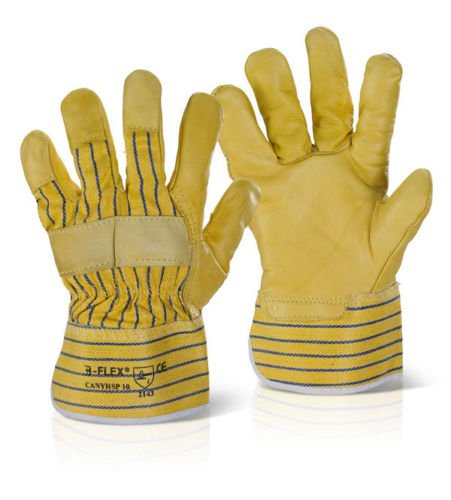 Canadian B-Flex Rigger Safety Gloves Yellow Hide/Leather Puncture level 3 (100 Pairs)