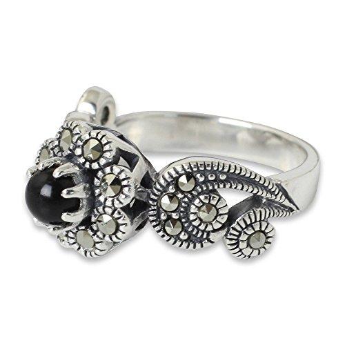NOVICA Multi-Gem Marcasite .925 Sterling Silver Floral Ring, Moonlight Blossom