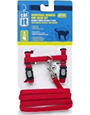 Catit Nylon Adjustable Cat Harness and Leash Set, Medium, Red
