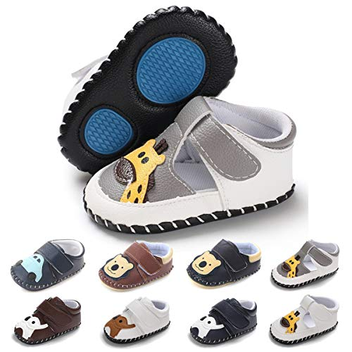 BENHERO Infant Baby Boys Girls Shoes Soft Sole Cartoon Slipper Soft Sole Moccasins Toddler First Walker House Walking Crib Shoes (0-6 Months Infant) A-Grey Giraffe -