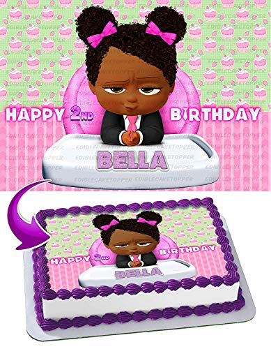 African American Girl Boss Baby Edible Cake Image Topper Personalized Birthday 1/2 Sheet Custom Sheet Party Birthday Sugar Frosting Transfer Fondant Image ~ Best Quality Edible Image for cake