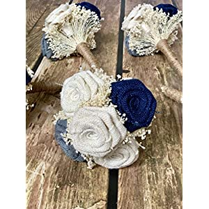 Ivory, Grey, Navy Wedding Bouquets (Choose Bridesmaids + Bridals) Rustic Bouquets, Burlap Bouquets, Rustic Wedding Bouquets, Burlap Wedding Bouquets, Bouquets 43