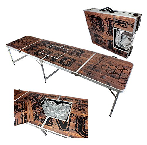 NEW 8' ICE BAG ICY CHEST COOLER BEER PONG TABLE ALUMINUM PORTABLE ADJUSTABLE FOLDING INDOOR OUTDOOR TAILGATE PARTY GAME WOOD PRINT#8 - Folding Tailgate Party Table