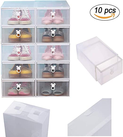 Vinteky® 10 Piezas Cajas de Zapatos Apilable Plástico Transparente ...