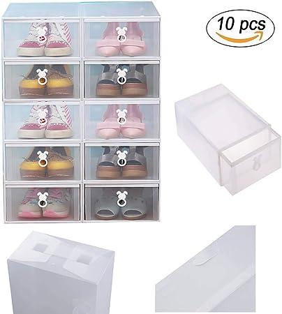Vinteky® 10 Piezas Cajas de Zapatos Apilable Plástico Transparente, Caja organizadora para Almacenamiento en el Armario; Organiza Ropa, suéteres, Camisas, Prendas con Capucha. 20.5cm x 31cm x 12cm: Amazon.es: Hogar