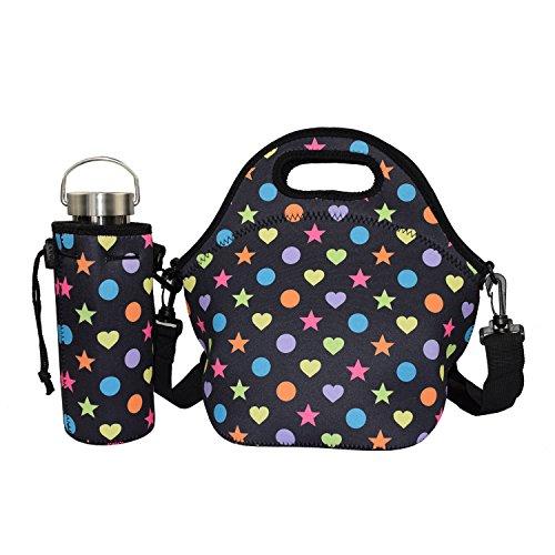 Lunch Tasche,YAMAY Neopren Kühltasche Lunch Tragetasche Picknicktasche Lunch Taschen mit Trageriemen Verstellbarem Band für Reisen und Picknick (Lunch Tasche und Wasserflaschen Kühler Tragetasche)
