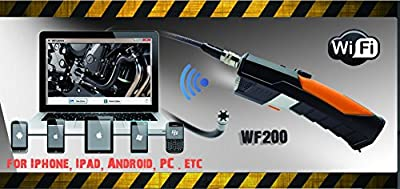 WF200 2.0 Megapixels 720P WIFI Wireless Endoscope Borescope Inspection Display Monitor Cam Flexible 3M Video Tube Cable with 8.5mm diameter IP67 Waterproof 6 LED Camera Head