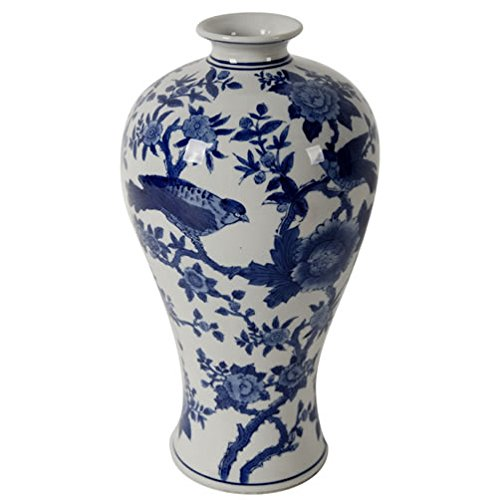 - A&B Home Ren Blue & White Bird Vase