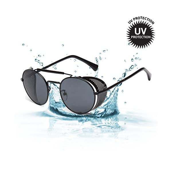 Sunglasses Side Shield Steampunk Vintage Cool UV Protection Round Glasses For Women&Men 3
