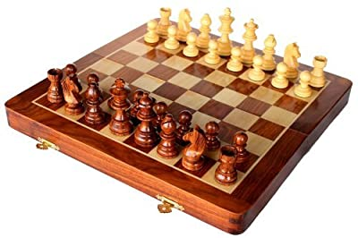 StonKraft Wooden Chess Game Board Set with Magnetic Wood Pieces, 12 X 12 Inch