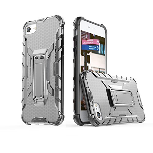 iPhone 8 Case iPhone 7 Case, TUPREX Metal Kickstand Transparent Slim Fit Clear Full Protection Cover Case Compatible for Apple iPhone 7 / iPhone 8, 4.7 inch - Grey