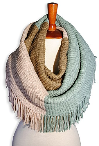Basico Women Winter Warm Knit Infinity Scarf Tassels Soft Shawl Various Colors (G70 Mint Pink Camel)