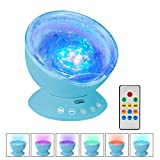 Ecandy Baby Music Night light Remote Control Projector, Ocean Wave light with Timer & 7 Colors Built-in Mini Speaker 45 Degree Adjustable for Nursery kids Living Room or Bedroom (Blue)