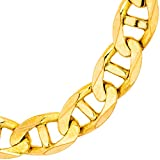Solid Gold 14K Mariner Link Chain Bracelet 14K Yellow Gold 7mm Wide (Lengths 7-1/2 to 8-1/2)