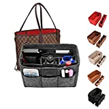 Kumako Bag Organizer,Felt Purse Insert Handbag Organizer For LV neverful,Speedy&Tote Bag (L, Gray)