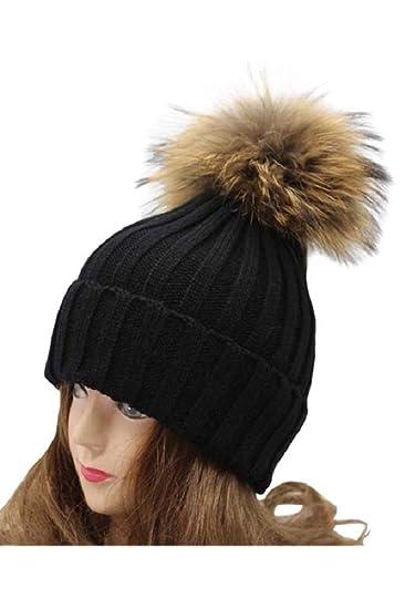 VamJump Women 7.1 quot  Detachable Real Raccoon Fur Pom Pom Cap Knit Beanie  ... 83efdffa975