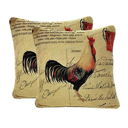 Tache 2 Pieces 18 X 18 Square Postmarked with Love Vintage Farmhouse Colorful Handsome Rooster Sofa Couch Decorative Accent Cushion Throw Pillow - Rooster Needlepoint