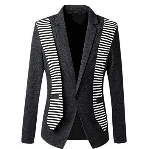 Revers 1 Hiver Bouton Loisirs Stripe Blazer Dunkelgrau Patchwork Essential Vestes Fumer Veste Avant Homme Costume zqxtEx