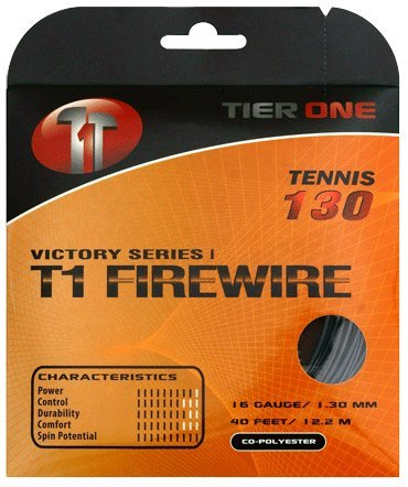 Tier One T1-Firewire Co-polyester Tennis String (Black, 16 gauge (1.30 mm) - 12.2 m set)