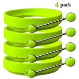 WQYK PACK OF 4 Egg Ring Cooker / Pancake Mold. Premium Silicone Egg Rings Non Stick Set of 4 Green