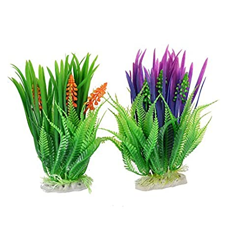 DealMux acuario de plástico pecera artificiales de agua planta de la hierba verde púrpura 2pcs: Amazon.es: Productos para mascotas