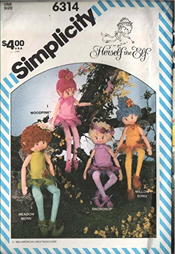 Simplicity 6314 Herself the Elf 4-stuffed Dolls Uncut Sewing Pattern 1983 Vintage Licensed American Greetings and Simplicity - Pattern Doll Elf