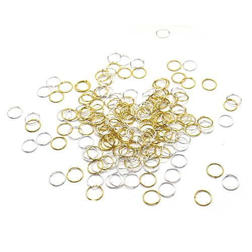 Price comparison product image HUELE Hair Braid Rings Hair Hoops Clip -- Silver and Gold ,200Pcs