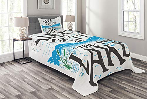 Lunarable Cabin Bedspread Set Twin Size, Life is Better at The Lake Wooden Pier Plants Mountains Sketch Art, Decorative Quilted 2 Piece Coverlet Set Pillow Sham, Charcoal Grey