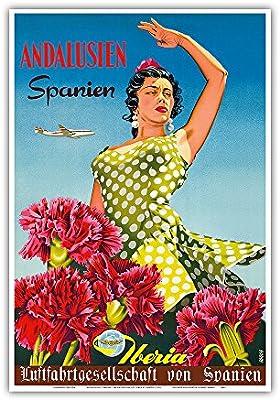 Pacifica Island Art Andalucía, España (Andalucia, España)-Iberia Air Lines de España-Flamenco Dancer-Viajes aerolínea del Cartel por Goros c.1958-Arte Master Print-13inx19: Amazon.es: Hogar