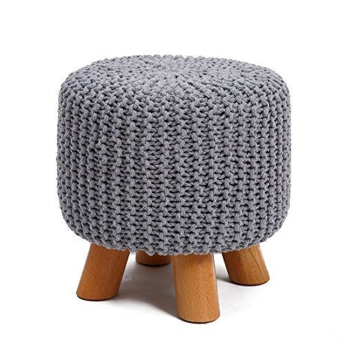 UUSSHOP Wood Support Upholstered Footrest Footstool Ottoman Pouffe Chair Stool Bench with 4 Beech Legs and Removable Handmade Knitted Woven Cotton Cover (Grey) by UUSSHOP