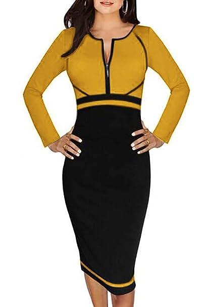 Minetom Vestidos Para Mujer Empalme Cuello Redondo Cremallera Cuello Ropa Fiesta Bodycon Vestido Cóctel: Amazon.es: Ropa y accesorios