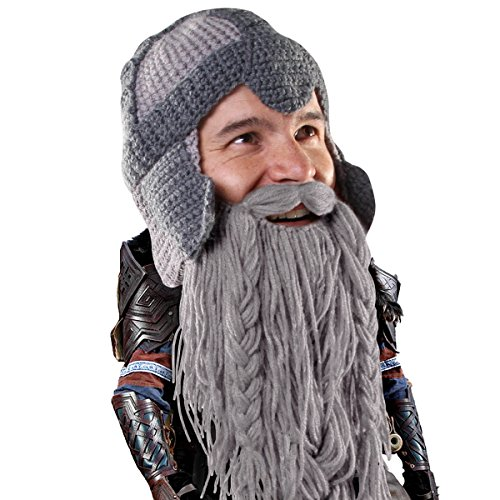 Beard Head Dwarf Warrior Beard Beanie - Epic Knit Dwarf Helmet and Fake Beard Grey