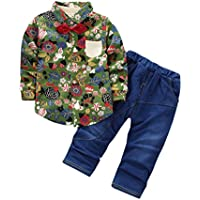 Toddler Kids Baby Boy Floral Outfits Printing Shirt Tops+Denim Pants Clothes Set by Keepfit