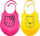 Waterproof Soft Silicone Baby Bibs - 2 Pack - Bib With a Pocket, Food & Crumb Catcher , FDA Approved, BPA Free (Pink, Yellow)