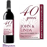 Personalised 40th Ruby Wedding Anniversary Wine Bottle Label Gift for Women and Men by Purpleproducts