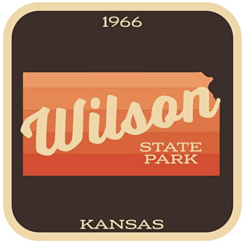 JMM Industries Wilson State Park Kansas Vinyl Decal Sticker Retro Vintage Look 2-Pack 4-inches by 4-inches Premium Quality UV Protective Laminate SPS318